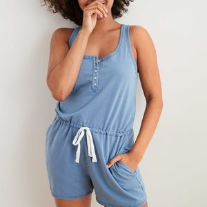 Blue sleeveless relaxed fit button Aerie romper XS